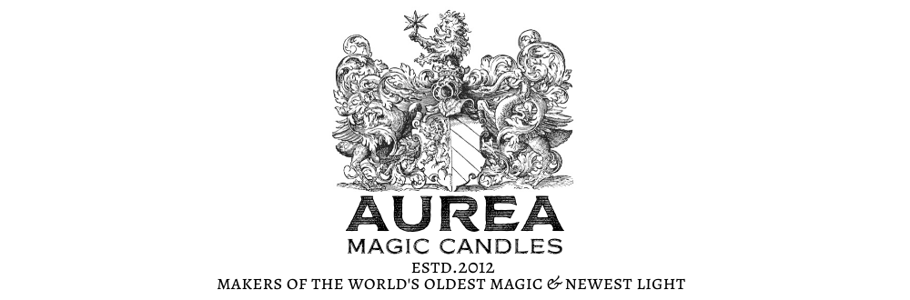 "Aurea magic candles – ""where the magic begins."""